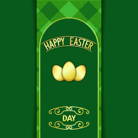 holy week: Happy Easter card with gold signboard and decoration egg