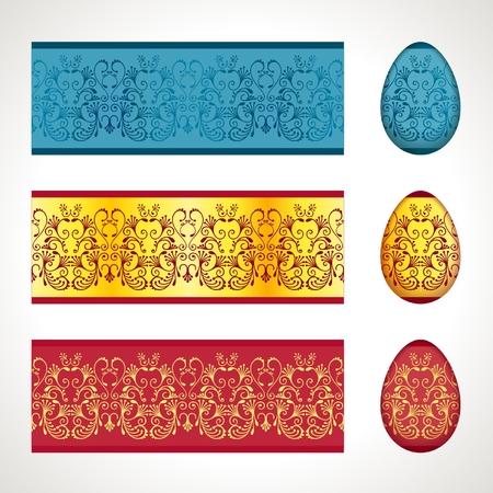 friso: Decoraci�n de los huevos de Pascua, patr�n friso sin fisuras Vectores