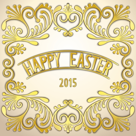photoreal: Ornate gold pattern card for Easter holiday