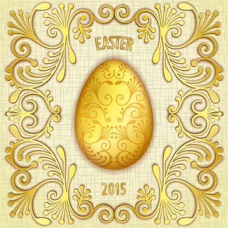 Gold jewelry Easter egg with pattern on gunny textured background Vector