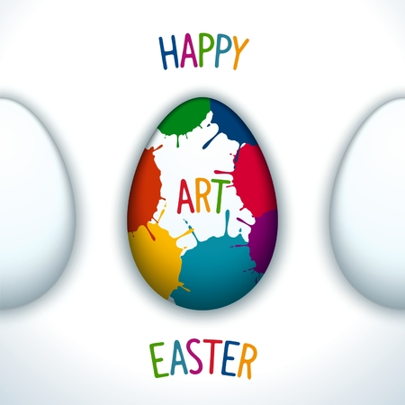paschal: Happy Easter creative poster with paschal decorated egg Illustration