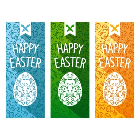 eastertide: Easter festive vertical flyers. Flat design