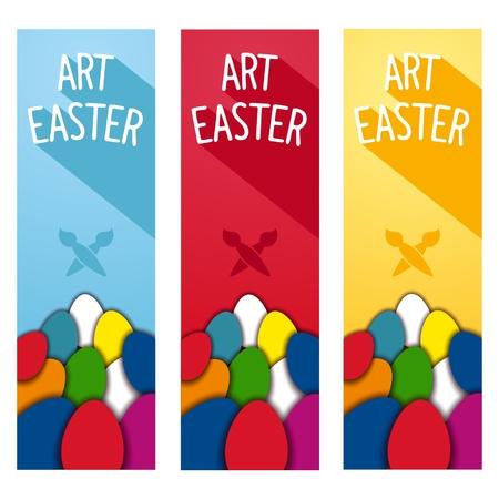 eastertide: Art Easter festive party vertical flyers. Flat design Illustration