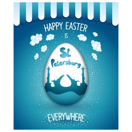 saint petersburg: Feast of Easter around the world. Saint Petersburg. Retro cartoon poster