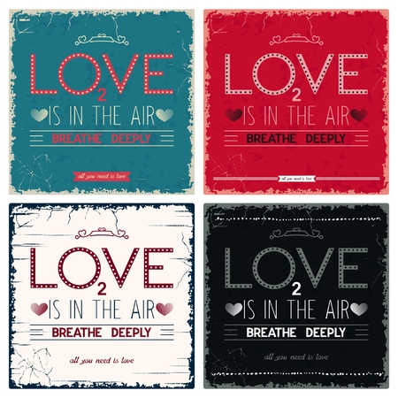 deeply: Four vintage postcard with design lettering - Love is in the air, breathe deeply Illustration
