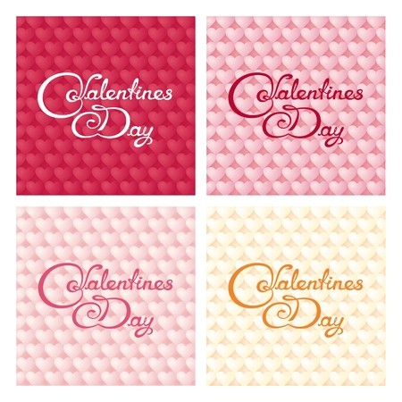 Four gentle valentines banners with calligraphy lettering on hearts background Vector