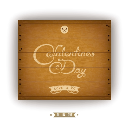 discolored: Valentines Day card. Wooden plate with discolored inscription
