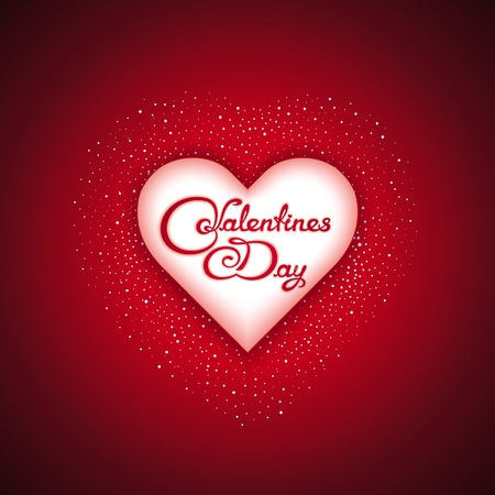 White 3d heart with calligraphy lettering - Valentines Day Vector