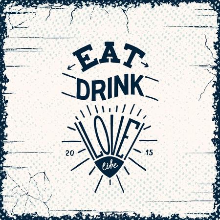 grange: Eat, drink, love. Grange authors hand drawn poster