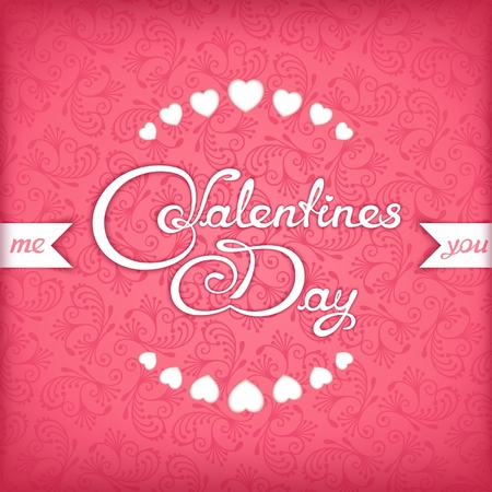 hearts background: Valentines Day calligraphy title design