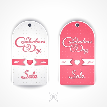 inkle: Set tender of labels for sales on Valentines Day with calligraphy title Illustration