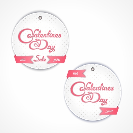 inkle: Two round labels for sales on Valentines Day with calligraphy title