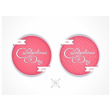 inkle: Two round labels for Valentines Day with calligraphy title Illustration
