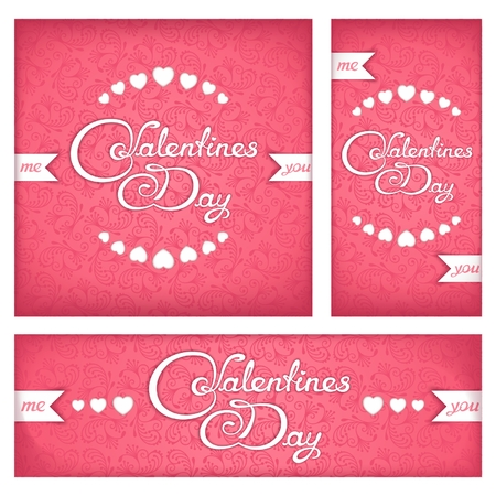 love: Set banners and flyers for Valentines Day with calligraphy title
