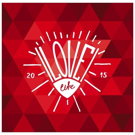 love of life: Ama la vita. Mano Hipster disegnato progettazione araldica creativo