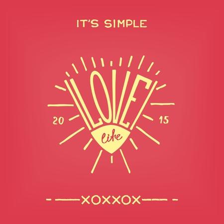 love of life: Ama la vita. Mano divertente disegnato progettazione araldica creativo Vettoriali
