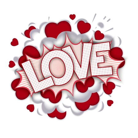 Love unexpectedly bang. Pop-art speech bubble with hearts and realistic puffs smoke Vector