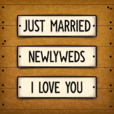 recien casados: Conjunto de elementos de diseño creativos en placas de automóviles de estilo