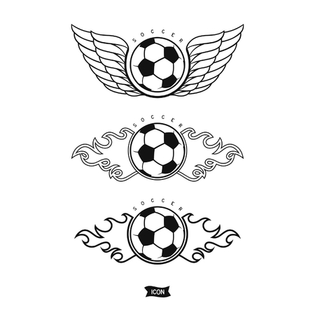 Set soccer ball with wings and fire. Isolated heraldic icons Ilustração