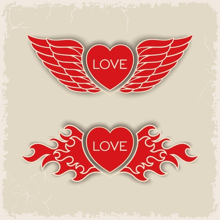 volumetric: Corazones volum�tricos her�ldica con alas y fuego