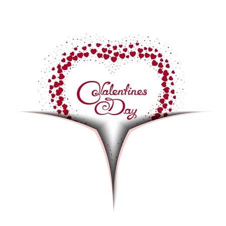 Valentines Day background. 3D imitation ajar box