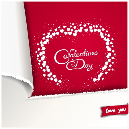 preview: Valentines Day background with 3D imitation torn paper