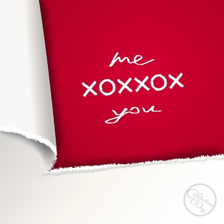 Conceptual design of the love letter with 3D imitation torn paper Vector