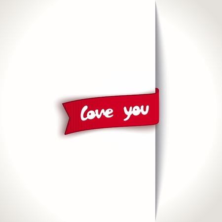 unscrew: Just red ribbon with text - love you Illustration