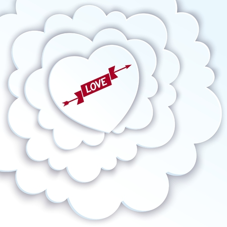 Love greeting card with white heart in the clouds Vector