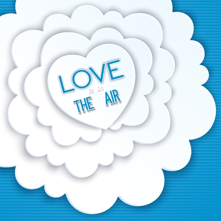 Heart in the clouds, love is in the air. Creative greeting card Vector