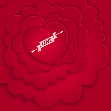 Love card with red heart in the clouds