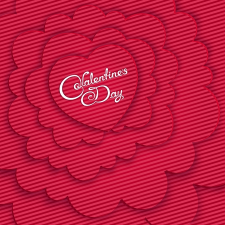Colorful Valentine's Day card with volumetric composition