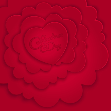 Valentine's Day card with volumetric composition