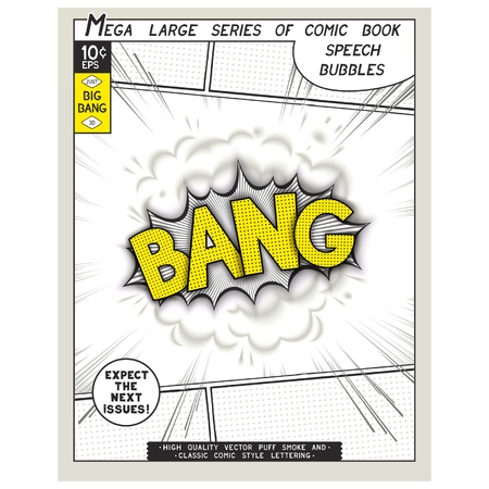 linearly: Bang. Explosion in comic style with lettering and realistic puffs smoke. 3D vector pop art speech bubble