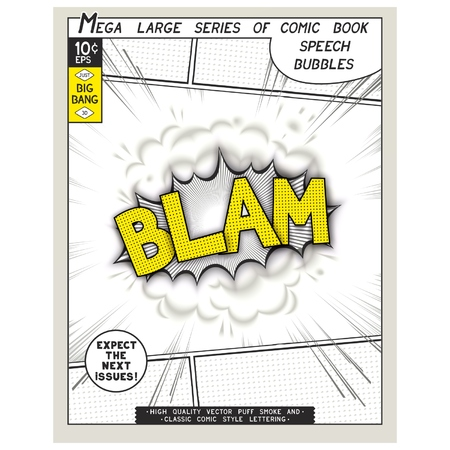 linearly: Blam. Explosion in comic style with lettering and realistic puffs smoke. 3D vector pop art speech bubble