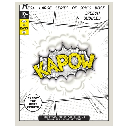 linearly: Kapow. Explosion in comic style with lettering and realistic puffs smoke. 3D vector pop art speech bubble