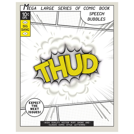 Thud. Explosion in comic style with lettering and realistic puffs smoke. 3D vector pop art speech bubble