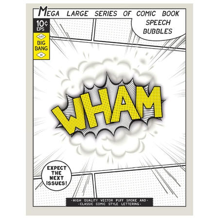 linearly: Wham. Explosion in comic style with lettering and realistic puffs smoke. 3D vector pop art speech bubble