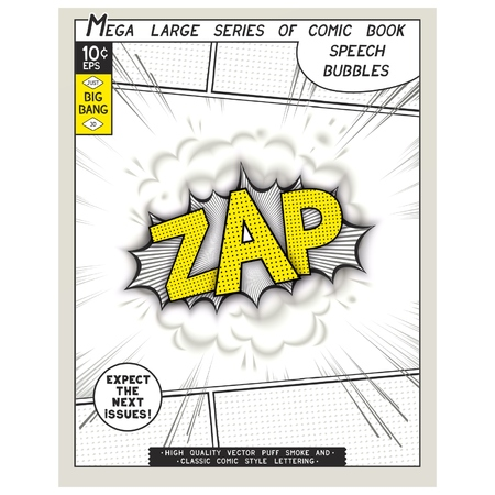 linearly: Zap. Explosion in comic style with lettering and realistic puffs smoke. 3D vector pop art speech bubble
