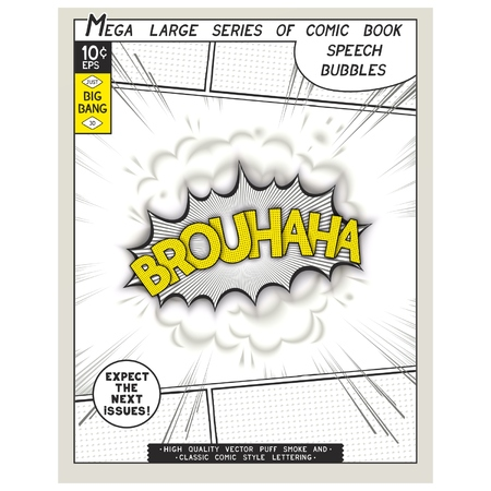 Brouhaha. Explosion in comic style with lettering and realistic puffs smoke. 3D vector pop art speech bubble Illustration