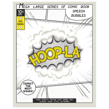 Hoop-la. Explosion in comic style with lettering and realistic puffs smoke. 3D vector pop art speech bubble Vector