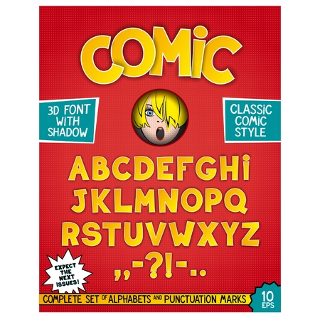 Complete set of alphabets and punctuation marks in comic style. Retro design as magazine cover Vector