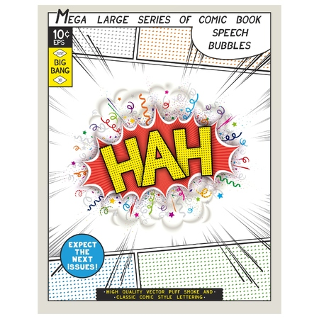 catchphrases: Hah. Explosion in comic style with lettering and realistic puffs smoke. 3D vector pop art speech bubble