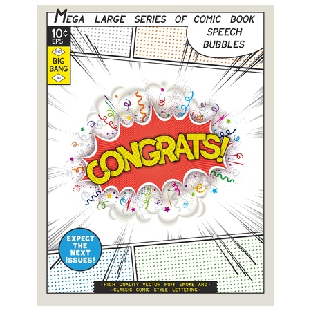 Congrats. Explosion in comic style with lettering and realistic puffs smoke. 3D vector pop art speech bubble