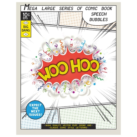 woo: Woo hoo. Explosion in comic style with lettering and realistic puffs smoke. 3D vector pop art speech bubble