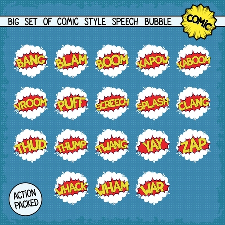 bombings: Big set bombings in comic style. Eighteen simple speech bubbles