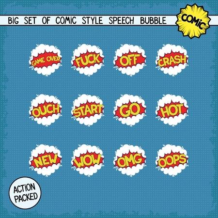 bombings: Big set bombings in comic style. Twelve simple speech bubbles