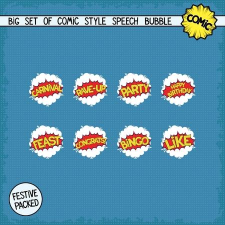 Big set bombings in comic style. Eight simple speech bubbles