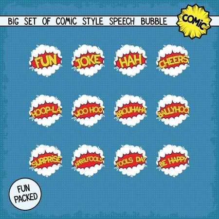 woo: Big set bombings in comic style. Twelve simple speech bubbles