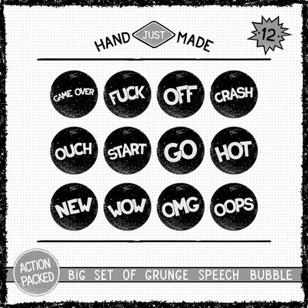 threadbare: Big set of grunge round speech bubbles. Twelve simple icons Illustration